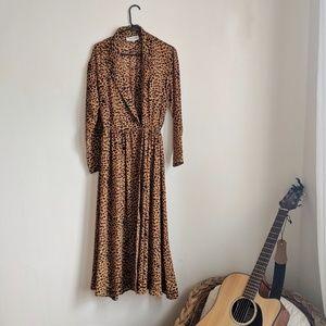 Vintage Leopard Duster Maxi dress